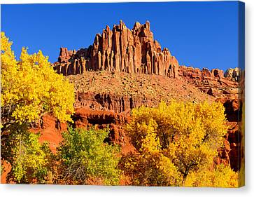 Canvas Print featuring the photograph Autumn Beneath The Castle by Greg Norrell