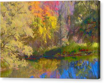 Autumn Beside The Pond Canvas Print by Don Schwartz