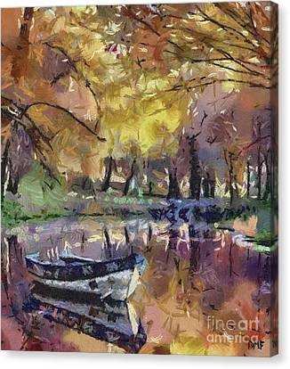 Lake Canvas Print - Autumn By The Lake by Dragica  Micki Fortuna