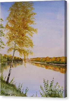 Canvas Print featuring the painting Autumn By The River by Martin Howard