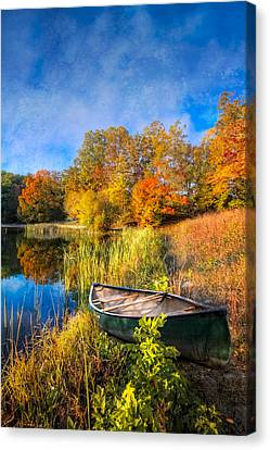 Benton Canvas Print - Autumn Canoe by Debra and Dave Vanderlaan