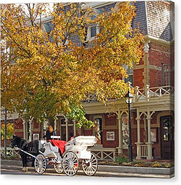 Autumn Carriage For Hire Canvas Print by Barbara McDevitt