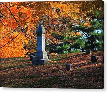 Autumn Cemetery Visit Canvas Print