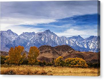 Autumn Colors And Mount Whitney Canvas Print by Andrew Soundarajan