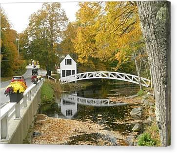 Autumn Colors At Somesville Bridge Mount Desert Island Maine Canvas Print by Lena Hatch