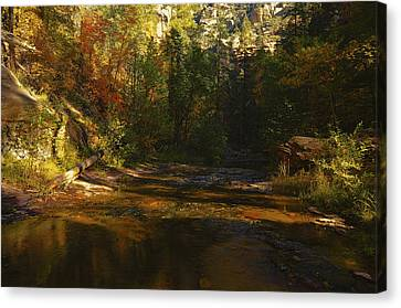 Autumn Colors By The Creek  Canvas Print by Saija  Lehtonen
