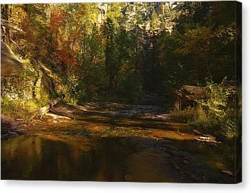 West Fork Canvas Print - Autumn Colors By The Creek  by Saija  Lehtonen