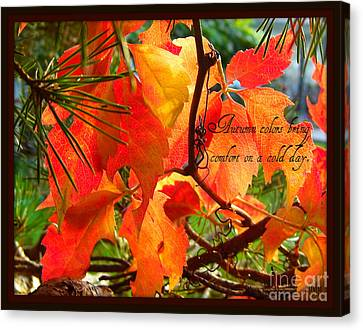 Canvas Print featuring the photograph Autumn Colors by Heidi Manly