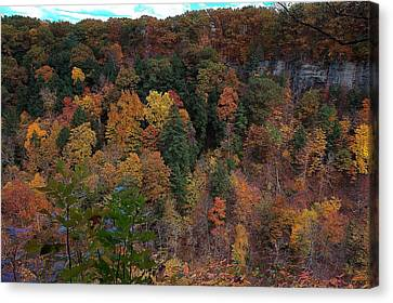 Canvas Print featuring the photograph Autumn Colors In Taughannock State Park Ithaca New York by Paul Ge