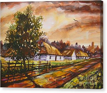 Autumn Cottages Canvas Print