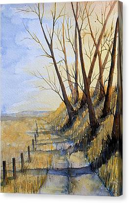 Canvas Print featuring the painting Autumn Country Road by Rebecca Davis