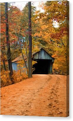 Autumn Covered Bridge Canvas Print by Joann Vitali