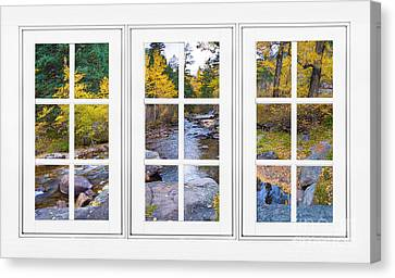 Autumn Creek White Picture Window Frame View Canvas Print