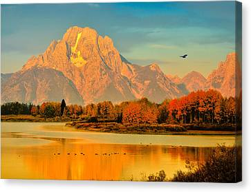 Autumn Dawn At Oxbow Bend Canvas Print by Greg Norrell