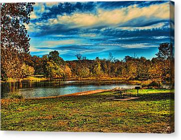 Autumn Day On The River Canvas Print by Rick Friedle