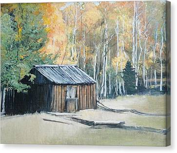 Autumn Descends On The Old Logger's Cabin Canvas Print