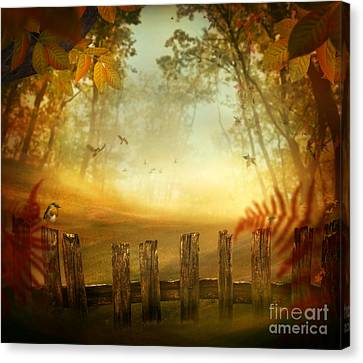 Autumn Design - Forest With Wood Fence Canvas Print by Mythja  Photography