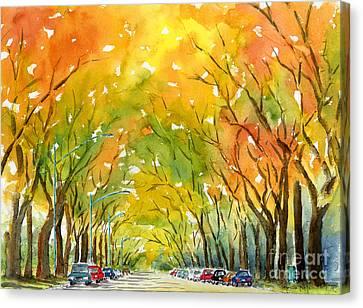 Autumn Elms Canvas Print by Pat Katz