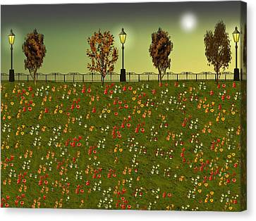 Autumn Evening Flowers Canvas Print