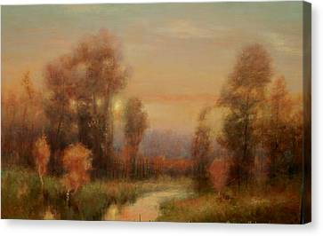 Autumn Evening Glow Canvas Print by Richard Hinger