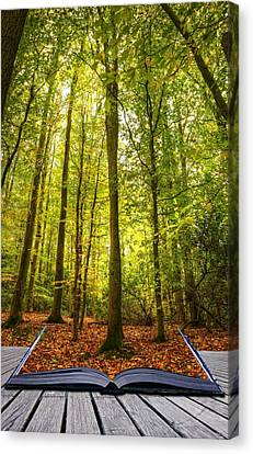 Autumn Fall Forest Landscape Magic Book Pages Canvas Print by Matthew Gibson