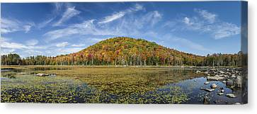 Serene Pond Vermont Autumn Panorama Canvas Print by Andy Gimino
