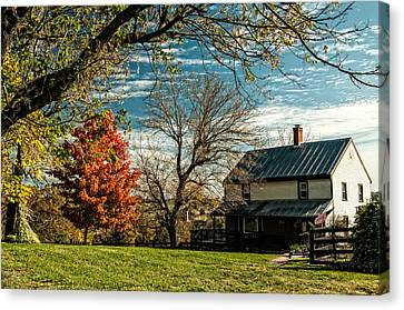 Autumn Farm House Canvas Print by Lara Ellis