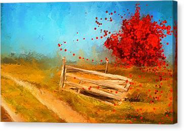 Autumn Farm- Autumn Impressionism Oil Palette Knife Painting Canvas Print by Lourry Legarde