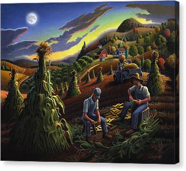Autumn Farmers Shucking Corn Appalachian Rural Farm Country Harvesting Landscape - Harvest Folk Art Canvas Print by Walt Curlee