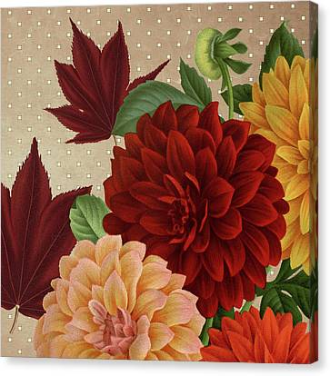 Red Leaf Canvas Print - Autumn Flare Square 1 by Gail Fraser