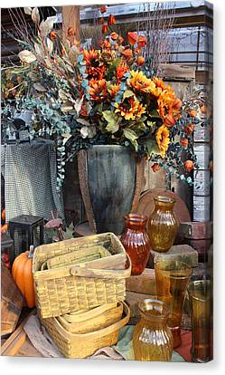 Canvas Print featuring the photograph Autumn Flowers And Baskets by Patrice Zinck