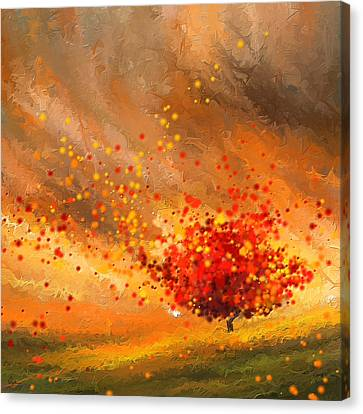 Red And Yellow Canvas Print - Autumn-four Seasons- Four Seasons Art by Lourry Legarde