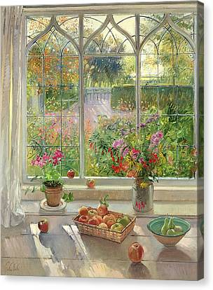 Autumn Fruit And Flowers, 2001 Oil On Canvas Canvas Print by Timothy Easton