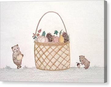 Autumn Fruit Basket And Bears Canvas Print by Christine Corretti