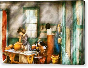 Autumn - Halloween - Carving A Pumpkin Canvas Print by Mike Savad