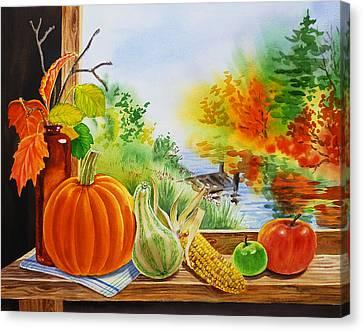 Squash Canvas Print - Autumn Harvest Fall Delight by Irina Sztukowski