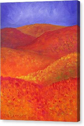 Canvas Print featuring the painting Autumn Hills by Janet Greer Sammons