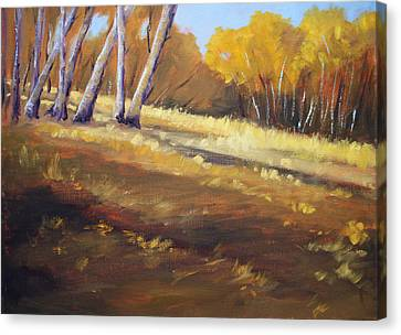 Autumn Hillside Landscape Canvas Print by Nancy Merkle