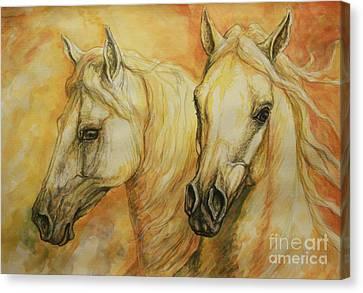 Autumn Horses Canvas Print by Silvana Gabudean Dobre
