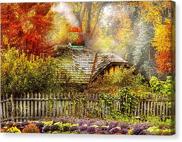 Autumn - House - On The Way To Grandma's House Canvas Print by Mike Savad