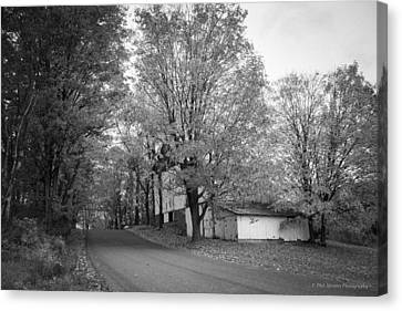 Canvas Print featuring the photograph Autumn In Black And White by Phil Abrams