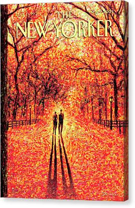 Seasons Canvas Print - Autumn In Central Park by Eric Drooker
