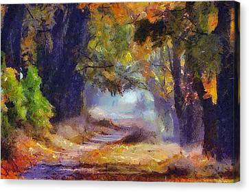 Canvas Print featuring the painting Autumn In Forest by Georgi Dimitrov