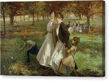 Autumn In Kensington Gardens Canvas Print by James Wallace