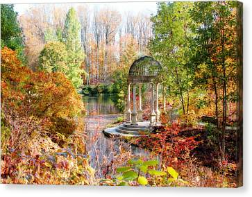 Autumn In Longwood Gardens Canvas Print by Trina  Ansel