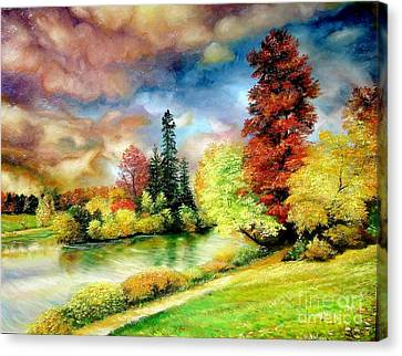 Canvas Print featuring the painting Autumn In Park by Sorin Apostolescu