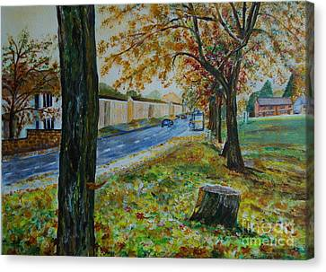 Autumn In South Road - Painting Canvas Print by Veronica Rickard