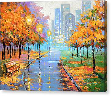 Autumn In The Big City Canvas Print by Dmitry Spiros