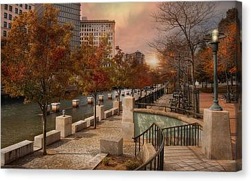 Lamp Post Canvas Print - Autumn In The City by Robin-Lee Vieira