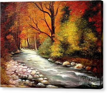 Canvas Print featuring the painting Autumn In The Forest by Sorin Apostolescu